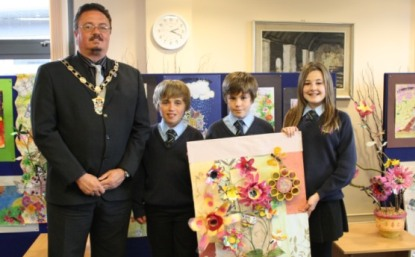 The Mayor of Llandudno with the year 7 students